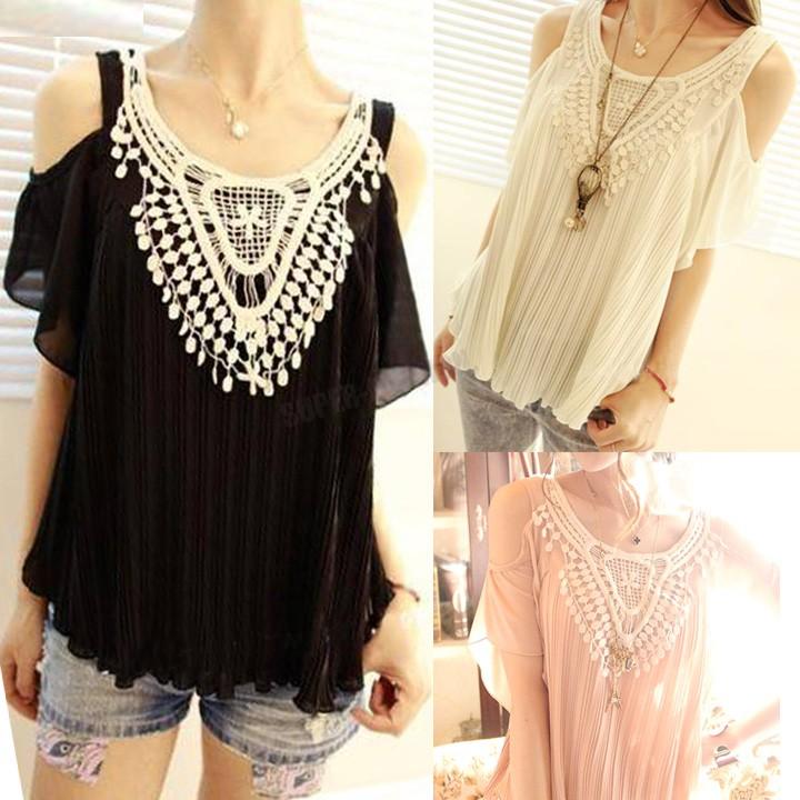 new arrival 2015 shirt Blouses Summer Women's fashion Sleeveless Off shoulder O-neck Crochet chiffon lace Shirts Korean Style(China (Mainland))