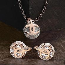 Fashion Jewelry Wholesale titanium steel Rose Gold 1ct CZ Diamond Pendant Necklace Stud Earrings Set Women's(China (Mainland))