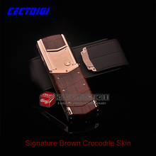 New Arrival UPDATED K7+ Brown Crocodile leather VIP luxury phone signature CEO 168 Visa screen Russian keyboard(China (Mainland))