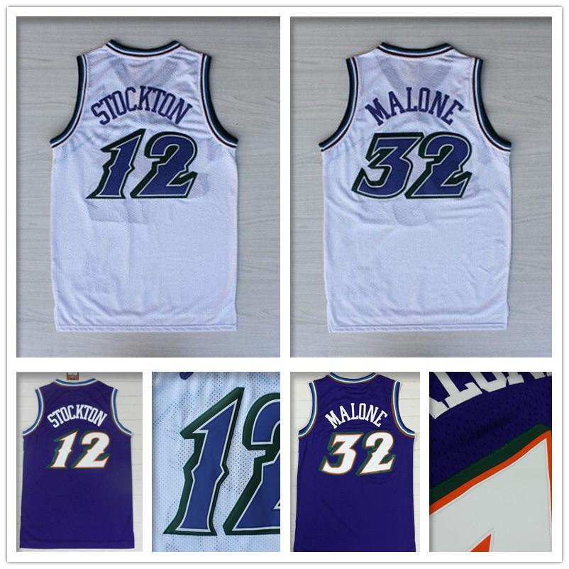 High Quality #12 John Stockton Jersey Stitched Wholesale cheap #32 Karl Malone Jersey Black throwback Basketball Jersey S-XXL(China (Mainland))