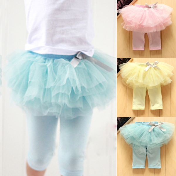 Kids Baby Girls Culottes Leggings Gauze Pants Party Skirts Bow Candy Tutu Dress Free Shipping(China (Mainland))