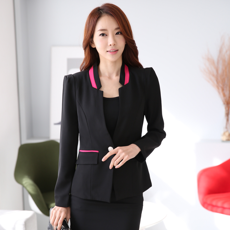Excellent 2018 Spring 2015 Formal Women Skirt Suits Sets Red Black Coat Skirt Blazer Female Office Uniform ...