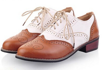 2014 New Carved British Style Oxford Shoes For Women Fashion Color Block Patent Leather Casual