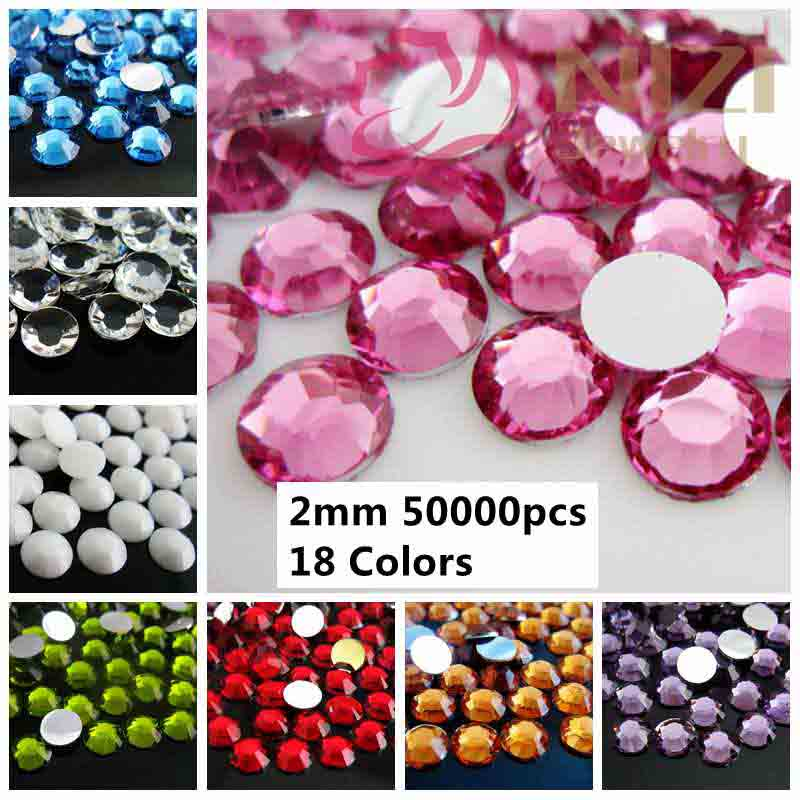 Nails Art Decoration Beads 50000pcs 2mm ss6 Resin Rhinestones Silver Flatback Stones Many Normal Colors 01#-18# DIY Design(China (Mainland))