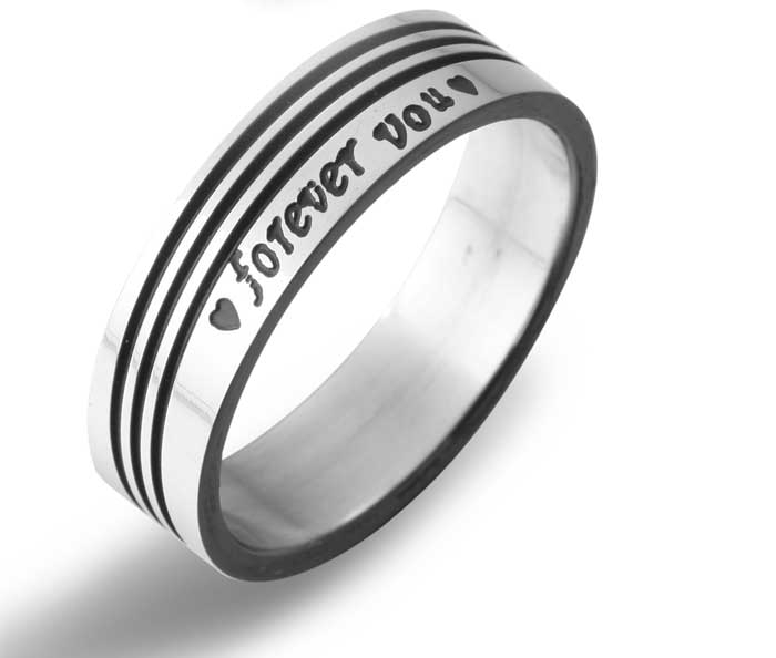 Wholesale Fashion Jewelry Black Stripe Titanium 316L Stainless Steel Forever Love Promise Lovers Wedding Rings For Women And Men(China (Mainland))