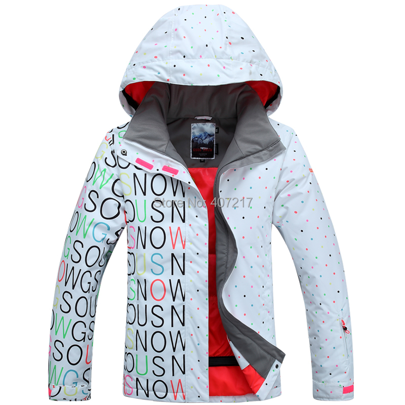 2014 Gsou snow womens white black ski jacket letters and colorful dots snowboarding jacket for women skiwear waterproof 10K<br><br>Aliexpress