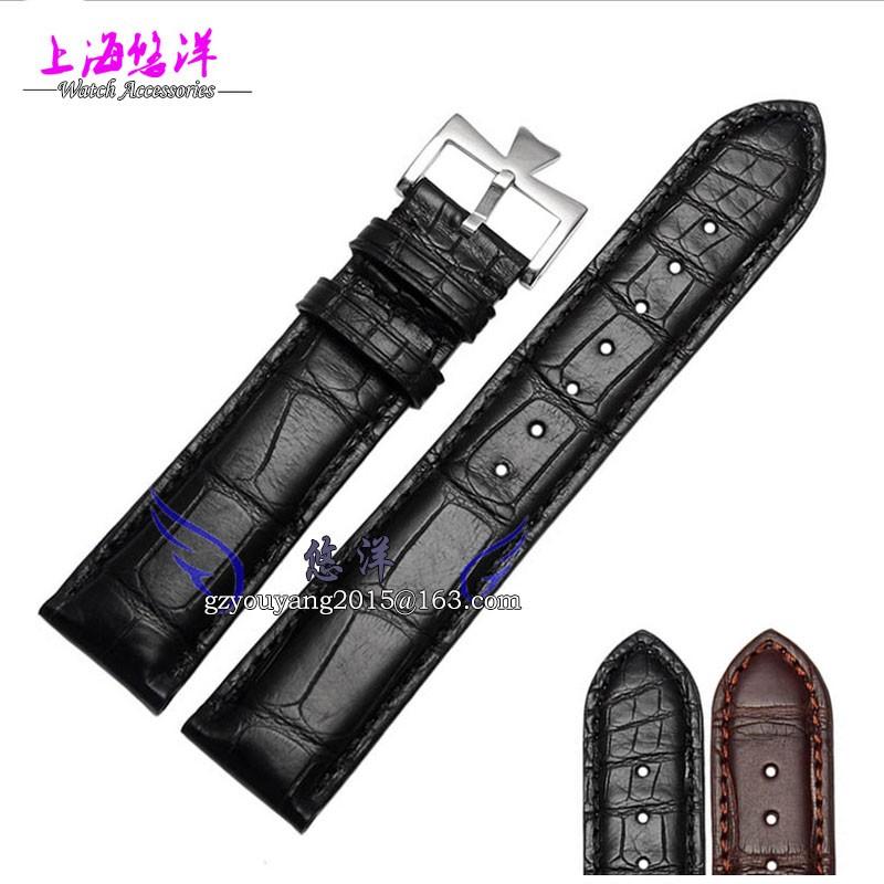Кожаный ремешок альтернативные дентон кожи аллигатора браслет 20 мм мужской женский часы аксессуары