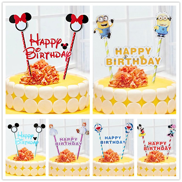1set Mickey Minnie mouse cupcake cake topper cake flags paper straw baby shower child birthday party supplies party decorative(China (Mainland))