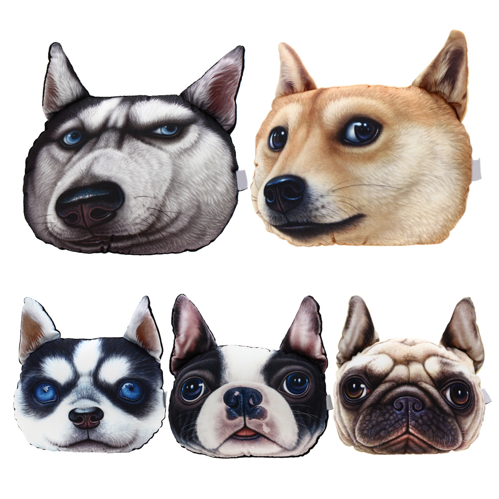 Hot Sale 3D Printed Dog face Car Headrest Pillow 2016 New Arrival Activated Carbon Seat Cushion Supplies Neck Auto Safety Pillow(China (Mainland))