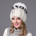 Winter Fur Hats Women 2 Colors Mink Fox Caps Fox Fur Soft Warm Women Winter Cap