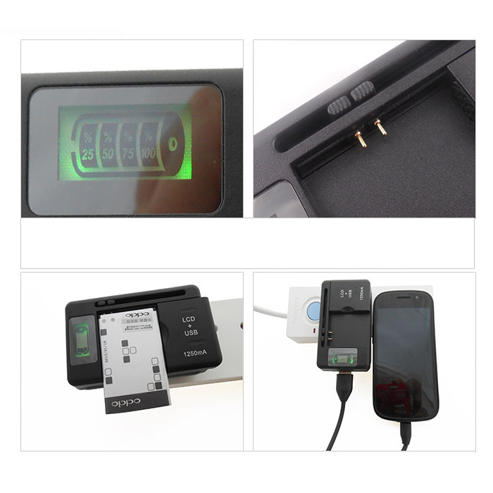 Scolour New Mobile Universal Battery Charger LCD Indicator Screen For Cell Phones *USB-Port* Hot(China (Mainland))