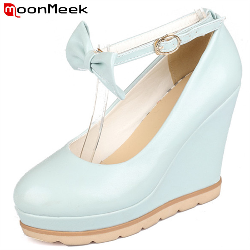 Plus size 34-41 New wedges women pumps high heels with bowtie solid white blue and pink wedge fashion wedding club shoes(China (Mainland))