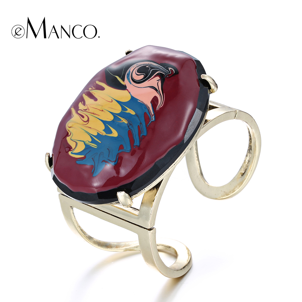 eManco enamel cuff alloy bangle hand painted wide opening resin bangles for women gold plated metal jewelry bracelet manchette(China (Mainland))