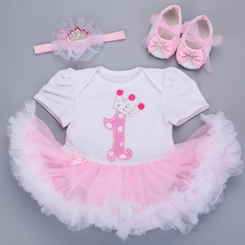 2016 newborn baby clothes set ,1st birthday tutu dress, Baby Girl Clothes Shoes Headband set,Infant Baby Clothing Sets #7C3009(China (Mainland))