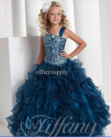 Princess Ball Gown Long Length girls Pageant dresses with beading 13332