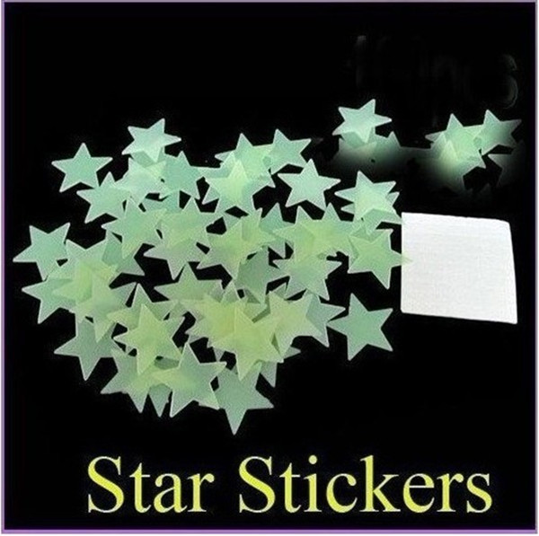 Гаджет  New 100pcs/pack 3.0cm Children Creative Cartoon PVC Luminous Patch Neon Fluorescent Star Stickers Three-dimensional Wallsticker None Дом и Сад