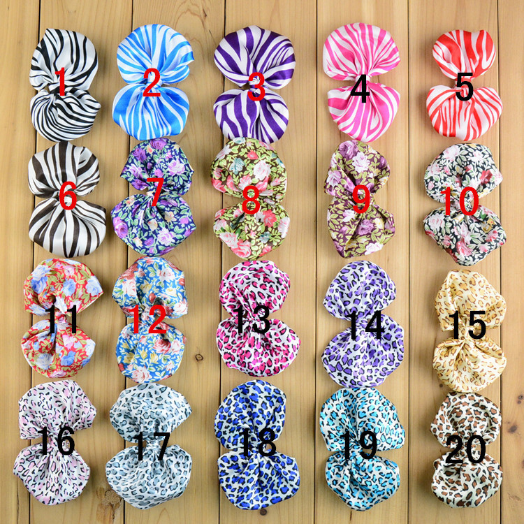Cheap ! Large 4inch No Clips Girls Accessories Chiffon Bows Boutique Hair Bows Leopard Zebra Flower Pattern DIY Supplies(China (Mainland))