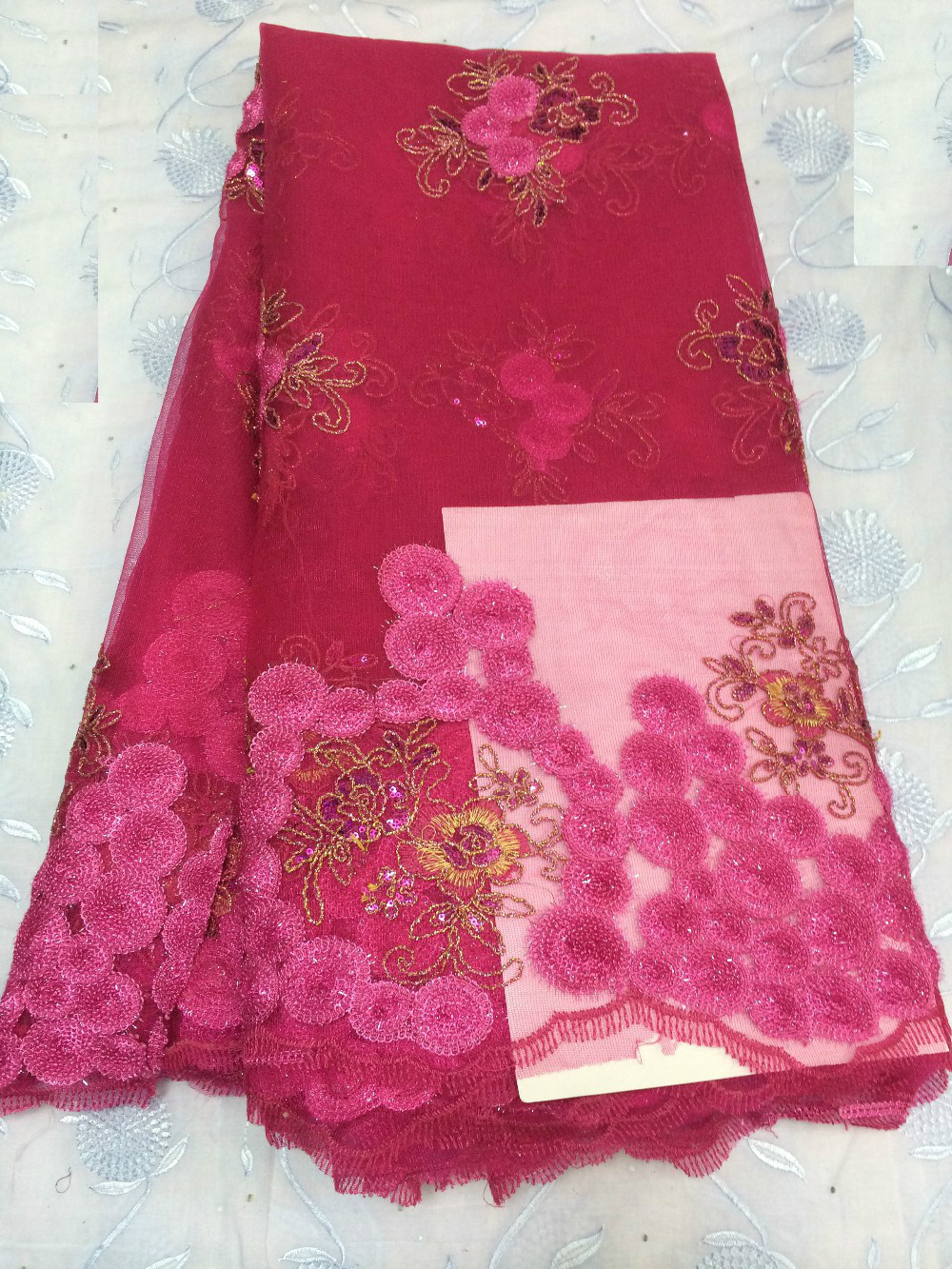 Buy big sale african red mesh flower for Sewing fabric for sale