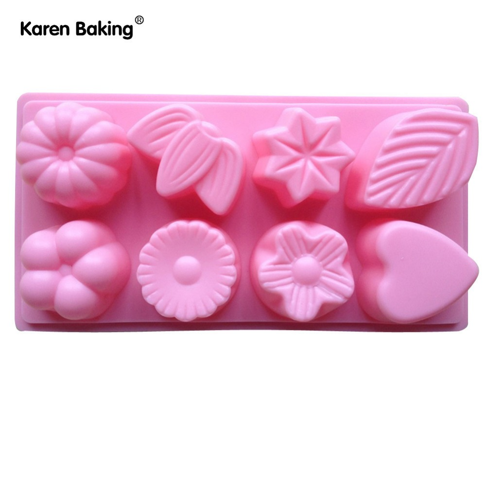 1PCS Flower And Love And Leaf Shape Muffin Sweet Candy Jelly Fondant Cake Mold Silicone Tool B151(China (Mainland))