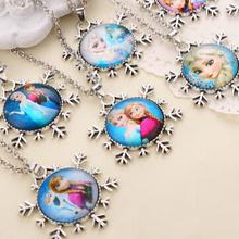 Elsa Princess Anne Snowflake Pendant Necklace Jewelry Wholesale 24pcs Random mix