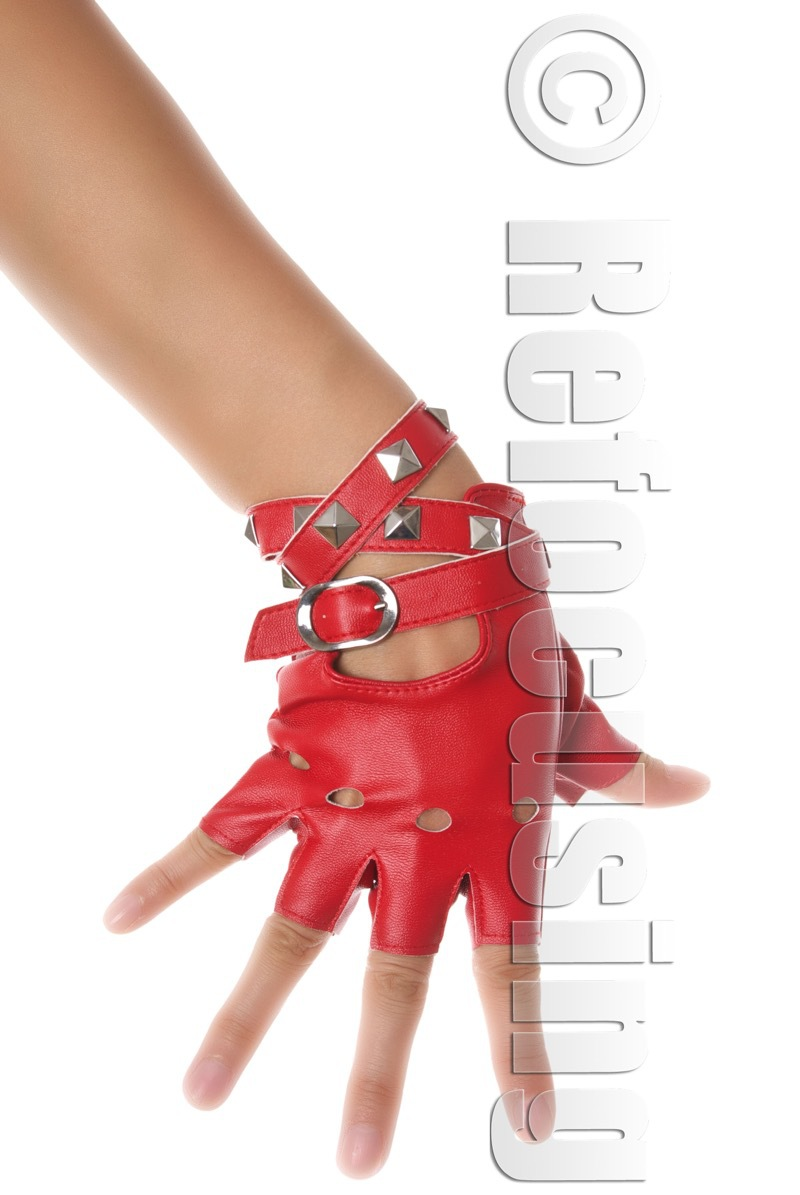 RED FAUX LEATHER FINGERLESS GLOVES STUD FREE SHIPPING(China (Mainland))