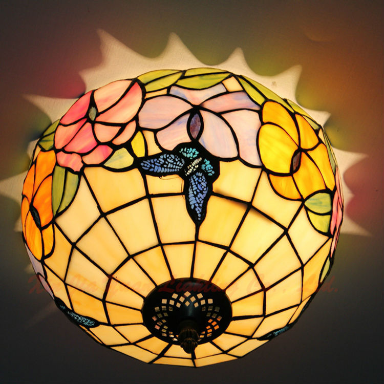 12 Inch tiffany stained glass ceiling lights flowers butterfly flush mount lamps bedroom kitchen hallway balcony light fixtures - Broadway Lighting store