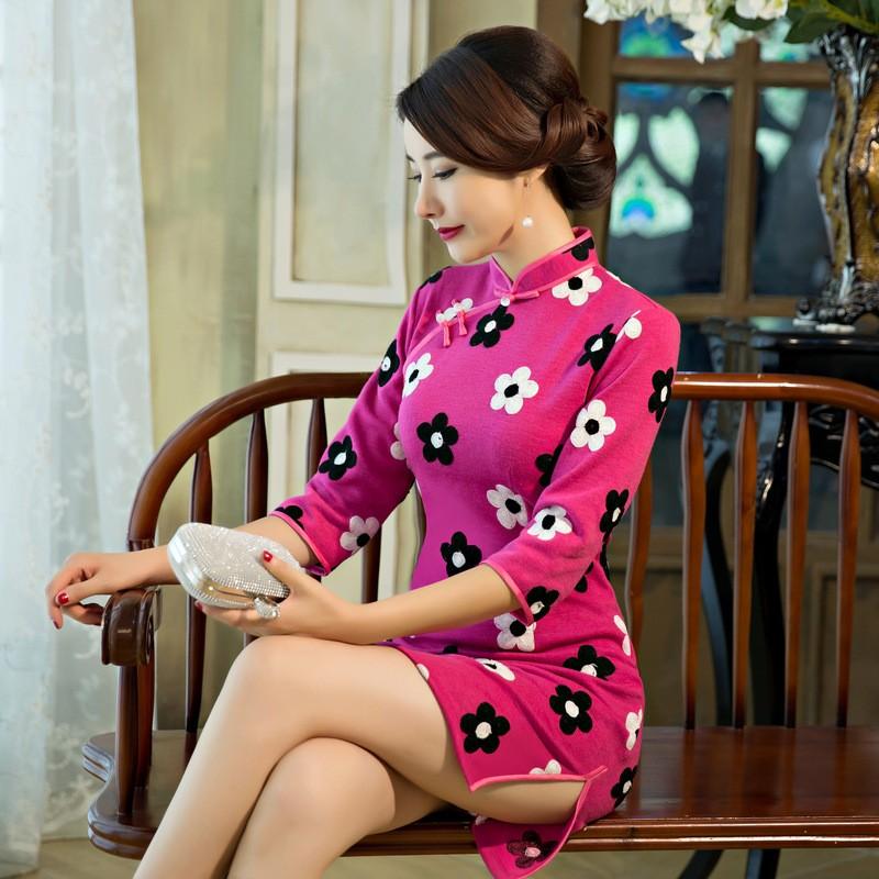 น้ำเงินครามสตรีขนสัตว์Cheongsamแฟชั่นสไตล์จีนมินิชุดที่สง่างามบางสั้นพิมพ์QipaoขนาดSml XL XXL F090605 ถูก
