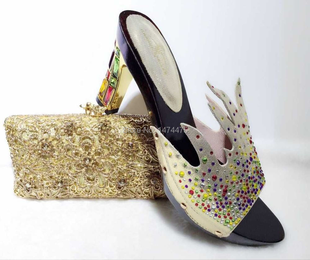 2015 African Fashion Shoes and Matching Bags set,NO.YHXB-14 with plenty stone and color bead Italy Shoes and Bags<br>