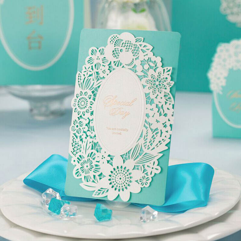 Blue Inviting Card 5Elegant Laser Cut Paper Event Party Supplies Decoration Lover Romantic Wedding Invitation - Lansier Love Store store