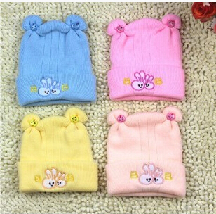 4 Colors Lovely baby cap warm hat infant autumn and winter tire cap faux rabbit baby hat cap free shipping(China (Mainland))