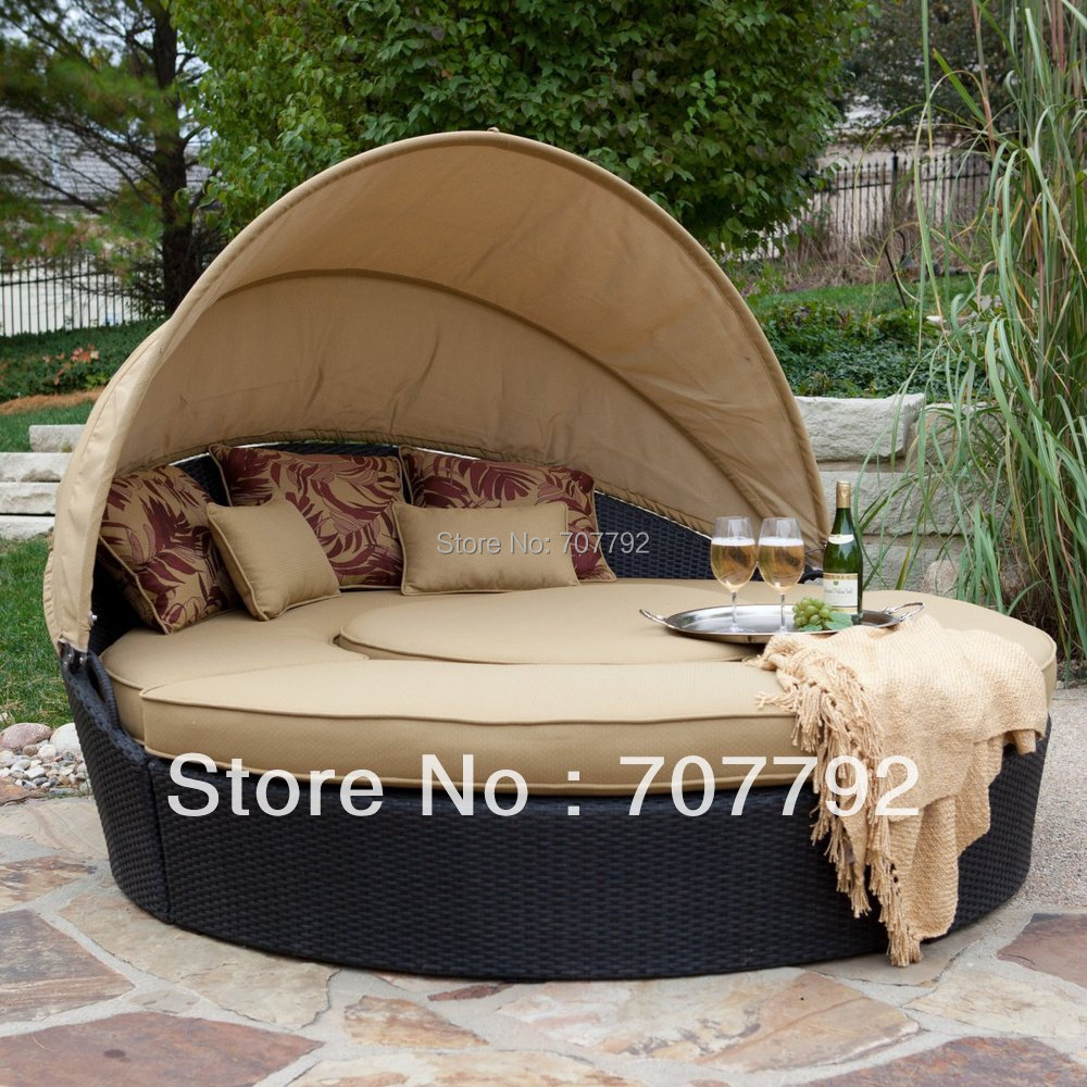 Hot sale round rattan outdoor folding sofa bed / sofa cum bed(China (Mainland))