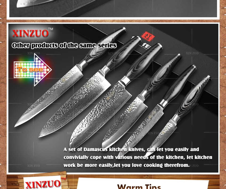 "Buy 2016 XINZUO 5"" inches santoku knife 73 layers Damascus kitchen knife fruit japan VG10 chef knife Color wood handle free shipping cheap"