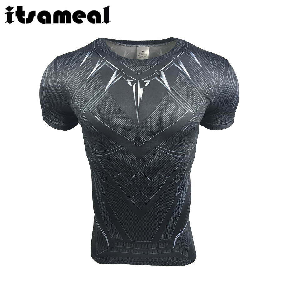 Marvel Super Heroes T-shirt Captain America: Civil War Black Panther T'Challa Sport Cosplay T shirt - ANHUI RUIQIQIAN TRADE CO,. LTD store