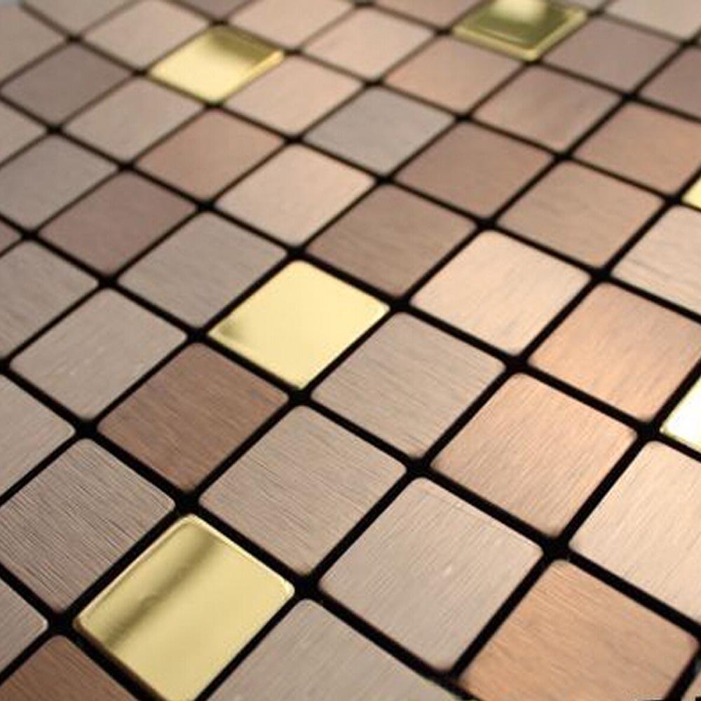 gold mosaic tiles self adhesive bronze brush metal