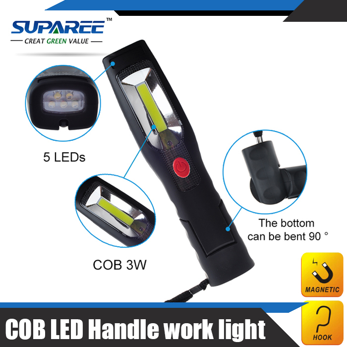 Hottest 1 Set 3W COB & 5LED Handle Work Light Flash Light Torch Lamp Zoom For Home Car Charger ,Multifunction led Torch light(China (Mainland))