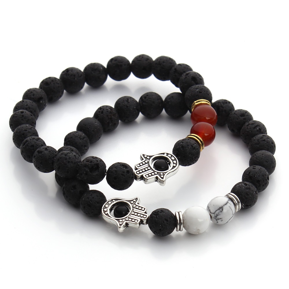 8mm Nature Black Lava Beaded Bracelet Energy Stone Bracelet Hamsa Hand Bangle Charm Yoga Mala Bracelets(China (Mainland))