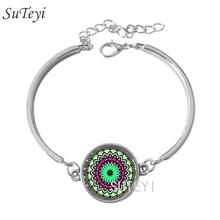 Buy SUTEYI silver mandala flower bracelet henna yaga bracelet jewwlry dome glass handmade bracelet om symbol buddhism zen BR24 for $1.19 in AliExpress store