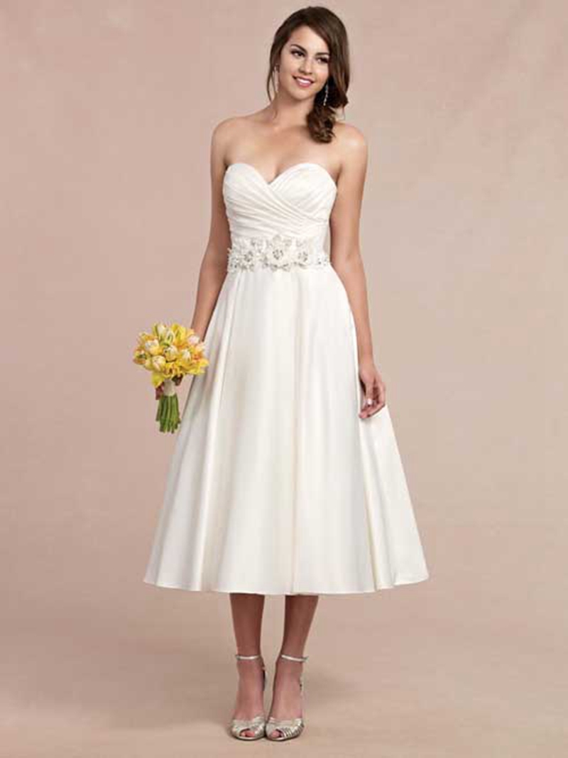 Vestido de noiva curto simple sweetheart short wedding for Mid length wedding dress
