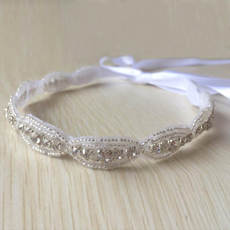 Wholesale12pcs Fashion Girls Beads Rhinestones Elastic Headwrap Bridal Ribbon Headband Wedding Hairband Hair Accesosries(China (Mainland))