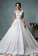 Buy Romantic Lace Wedding Dresses 2017 Luxury V Neck Sleeveless Wedding Gown Long Train Robe de Mariage Bride Dresses w6070 for $168.00 in AliExpress store