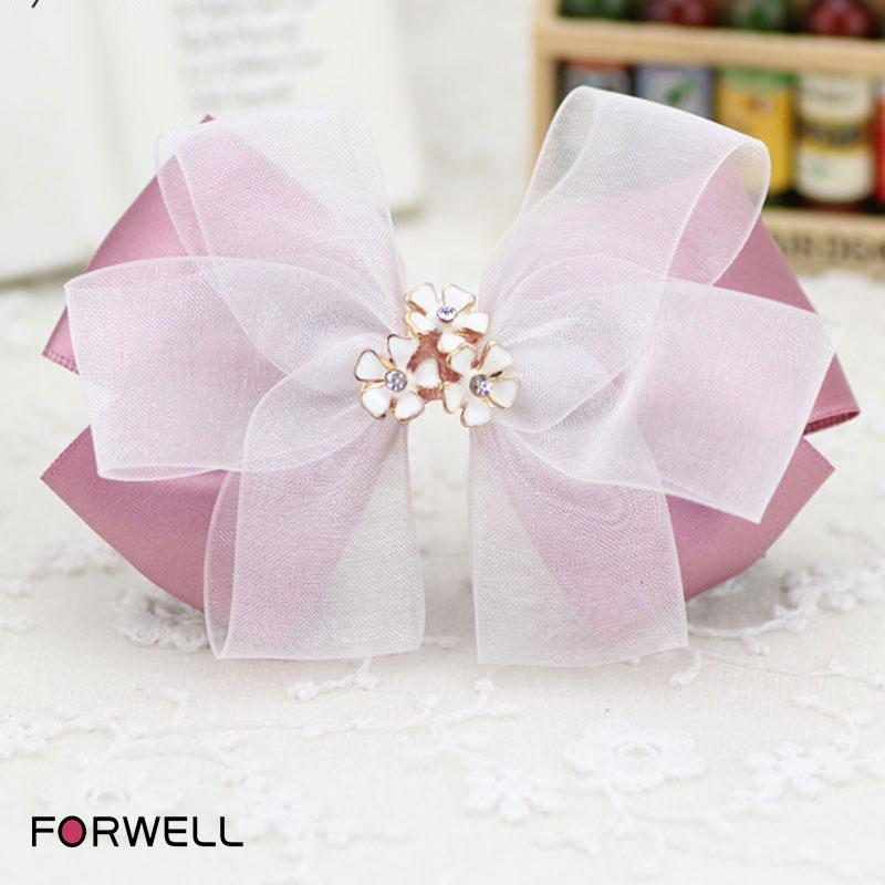 2016 new arrival hair clip hair accessories for women handmade bow hairpin headwear alloyed flower shape hair ring hair jewelry(China (Mainland))