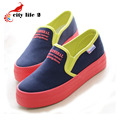 Candy Color Canvas Shoes Tenis Femininos 2016 Autumn Low Lazy Paltform Thicken Bottom Shoes Female Casual