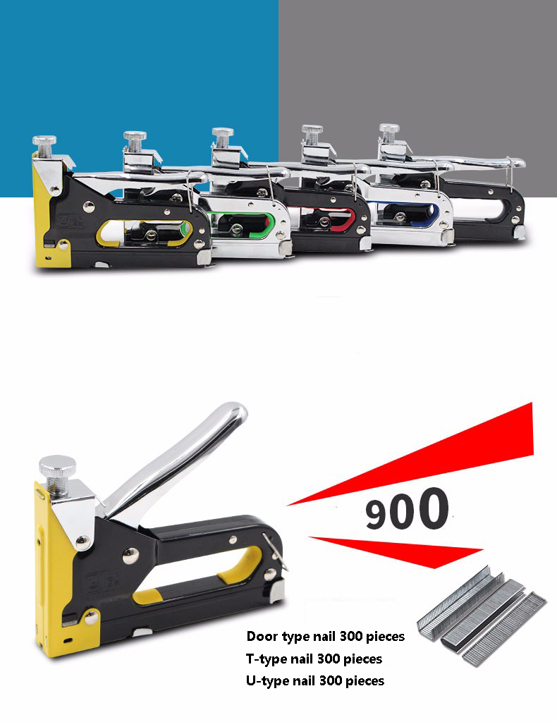3 Way Nail staple Gun & Stapler for wood furniture, door & upholstery chrome finish with 900 nails