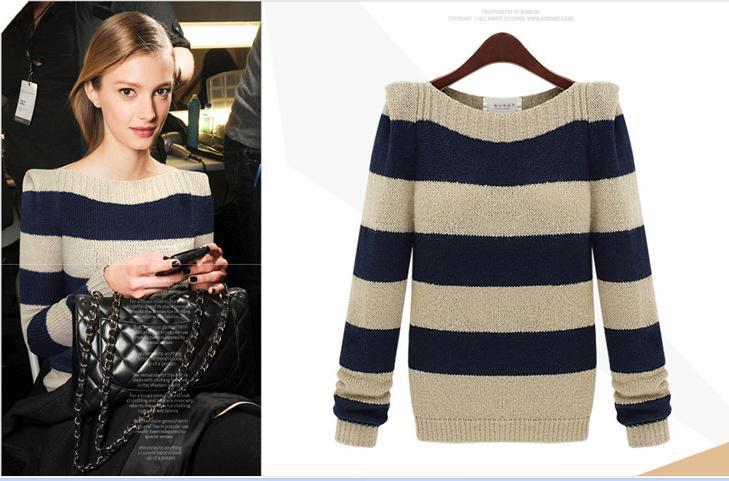 East Knitting k-01 Sweaters 2013 women fashion Article tops Boat neck sweater Free shipping(China (Mainland))