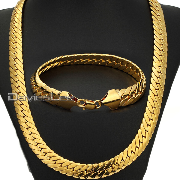 Mens Chain Boys 11mm 18k Gold Filled Necklace 18kgf Chain