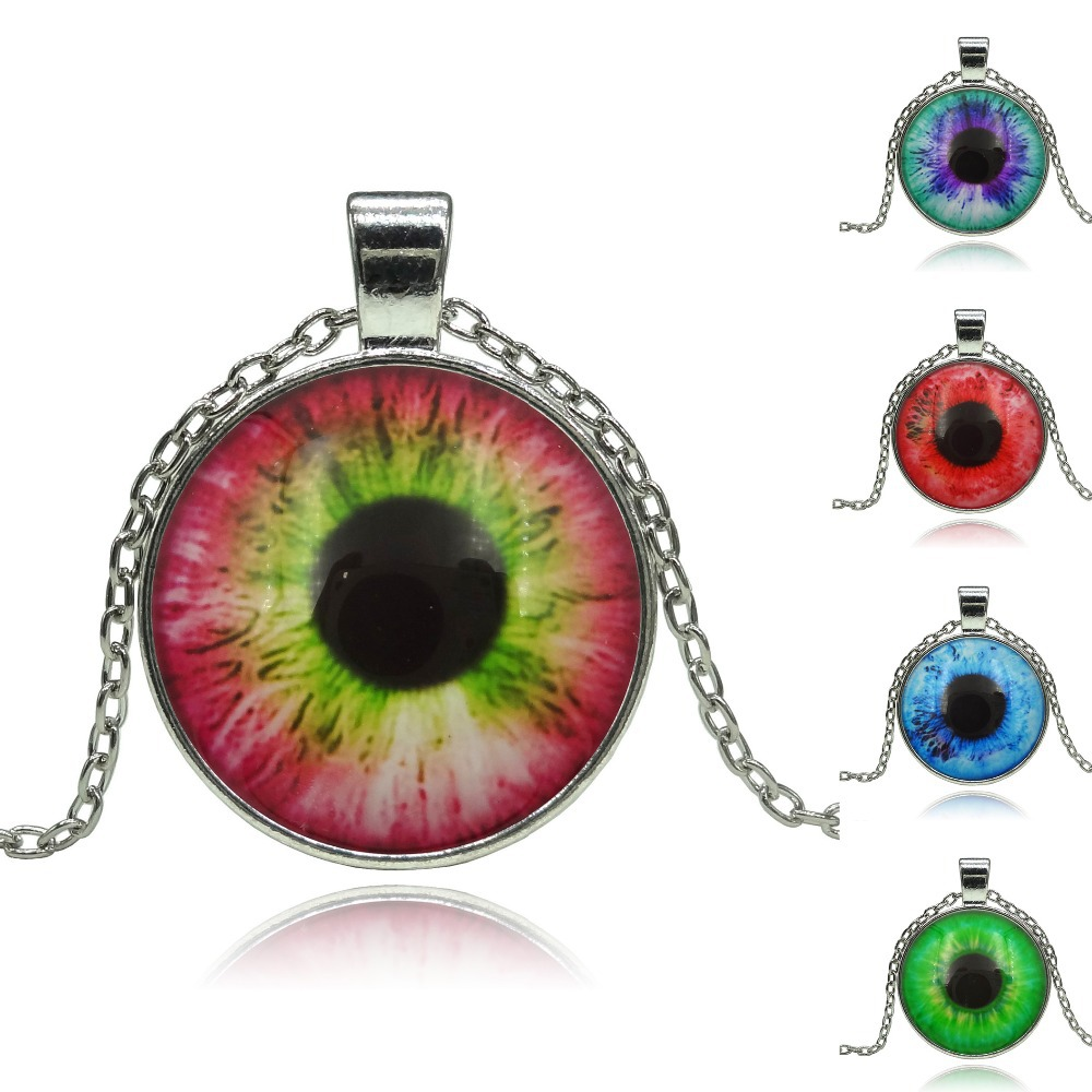 Wholesale Vintage Evil Eye Patterns pendant necklace glass cabochon silver statement chain Necklace Jewelry for Women(China (Mainland))