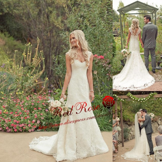 Simple Country Lace Mermaid Wedding Dress With Cap Sleeves