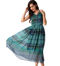 European Style Fashion Women 2016 New Summer Chiffon Dress Bohemian Elastic Waist Sleeveless V-neck Crystal Casual Dresses(China (Mainland))