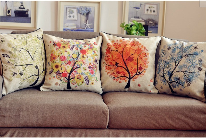 Wholesale free shipping decorative burlap cushion linen - Cojines decorativos para sofas ...