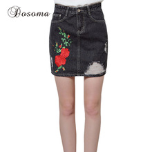 Buy Plus Size 3XL Flower Embroidery Black Denim Skirts Womens 2017 American Apparel High Waist Pencil Skirt Female Mini Skirt Summer for $14.50 in AliExpress store